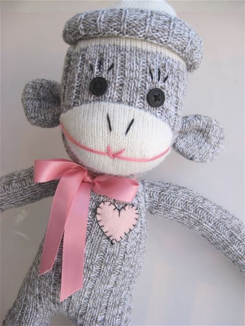 Handmade pink ribbon sock monkey - 25% donated to The Canadian Breast Cancer Foundation