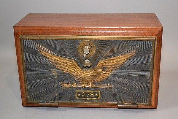 1906 US POST OFFICE LOCKBOX DOOR FRONT 1906 by Keyless Lock Co. #278.  mounted on a walnut case.