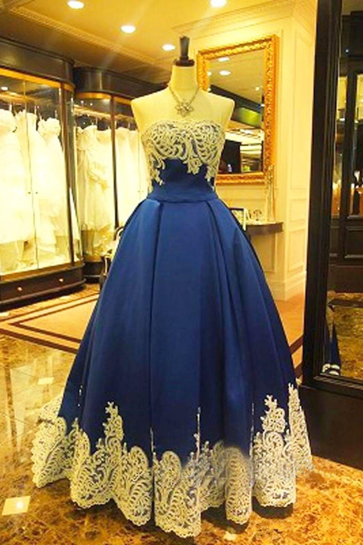 Strapless royal blue long lace appliqués evening dress senior prom