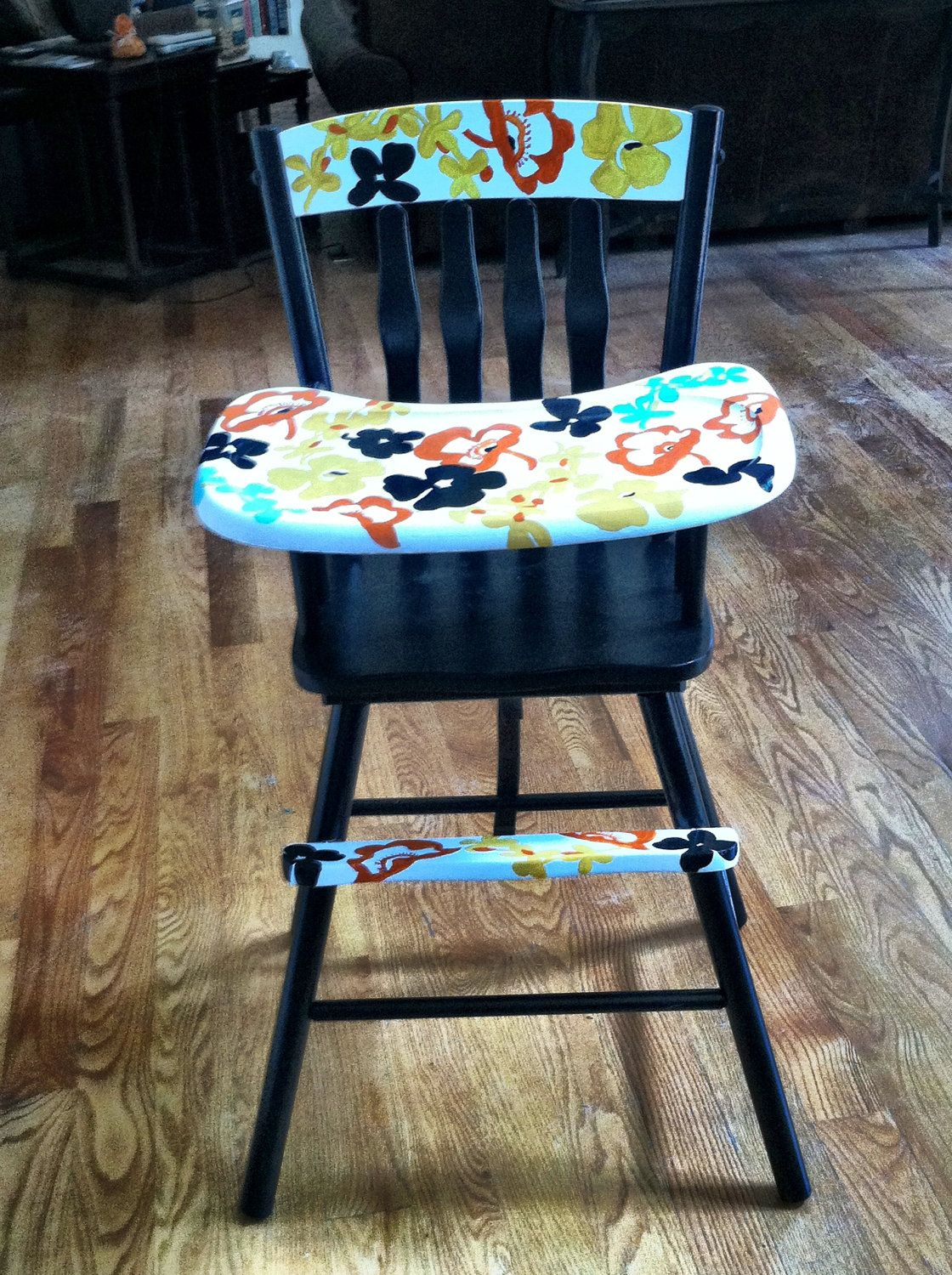 White Wood High Chair Vintage Hand Painted High Chair 500 00 Via Etsy Kids