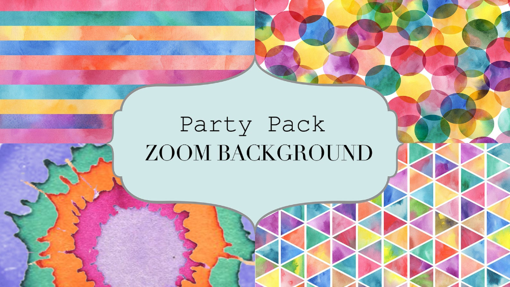 Colorful Digital Zoom Background Instant Download Pack 4 Etsy Happy Hour Party Bday Background Party Background
