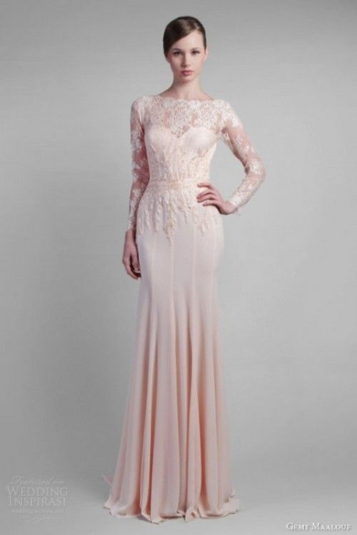 This Dress Is Stunning Loving The Blush Pink Long Lace Sleeve Wedding