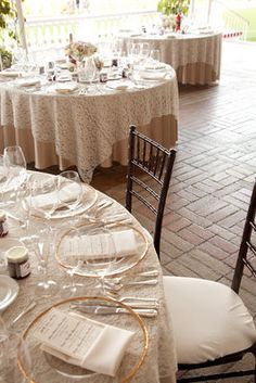 Beige Tablecloth With White Lace Overlay Google Search