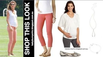 Shop This Look: Gisele Bundchen looks skinny in skinny peach jeans.  Follow baby bump chic on facebook https://www.facebook.com/BabyBumpChic