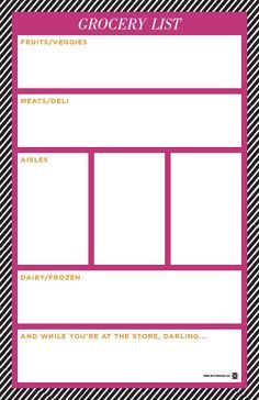 Cute Free Printable Shopping List Split Into Categories  Grocery