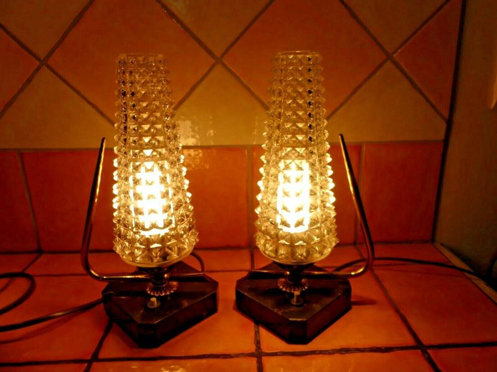Détails sur Paire de LAMPES de CHEVET vintage des années