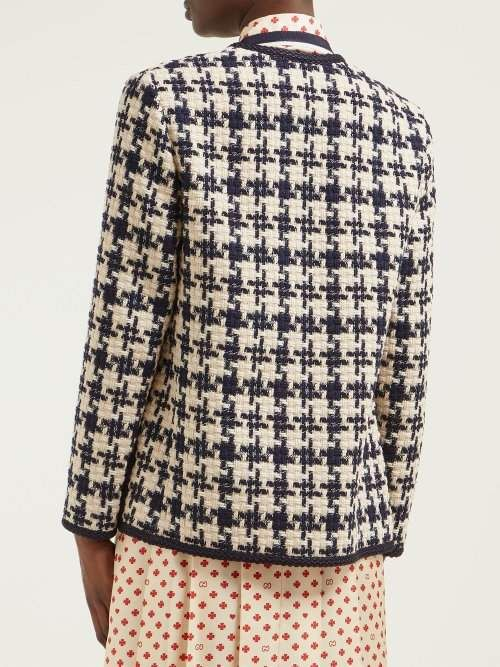 9d6f8918e3ec34 Gucci Houndstooth Tweed Jacket - Womens - Blue White #Tweed#Houndstooth# Gucci