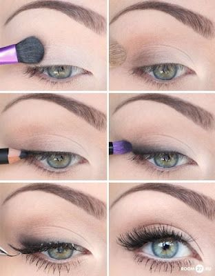 """I'm Not Trying"" Eye Make-up.  1) Apply a light champagne shadow across lid.  2) Apply a lighter brown shadow across crease & the outer corner of the lid.  3) Tightline w/ black liner.  4) Take a black/grey shadow & lightly apply above lashline (as demonstrated in the picture).  5) Apply mascara (but as the pic. shows, it seems as if she's putting on fake lashes. You can do that as well)."