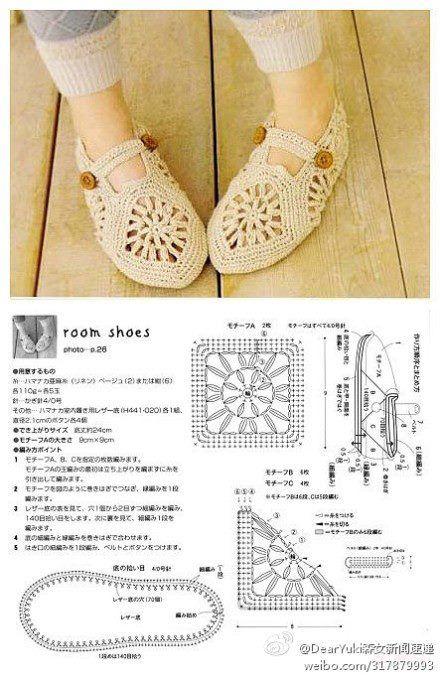 patron+crochet+zapatillas.jpg 440×679 píxeles | Zapatitos ganxet ...