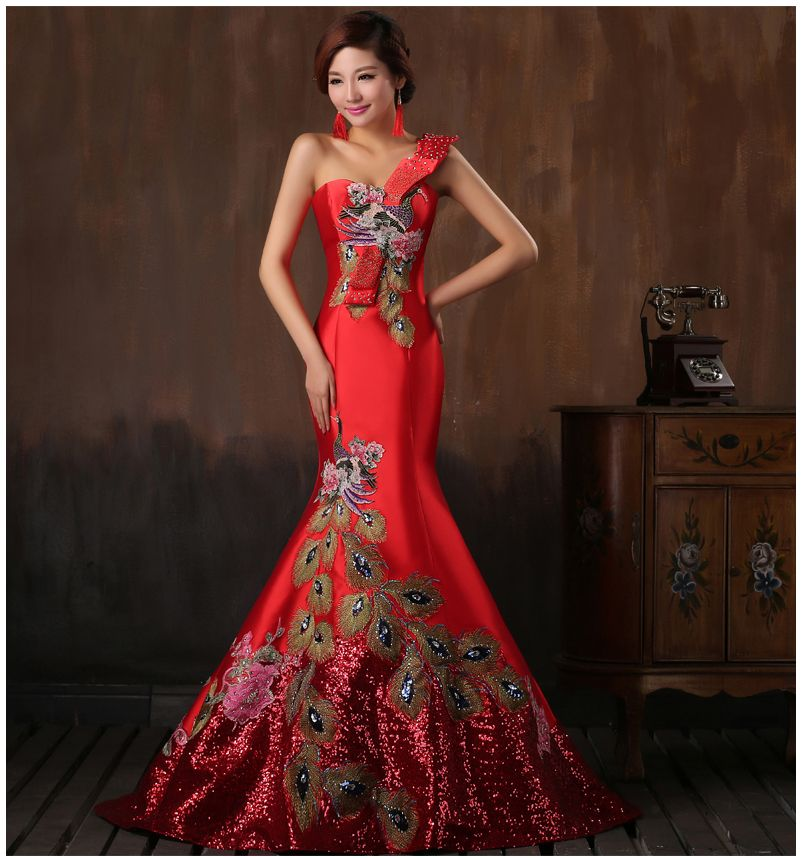 Pas cher Rouge Longue Mince Marié Robe de Mariage De style ...