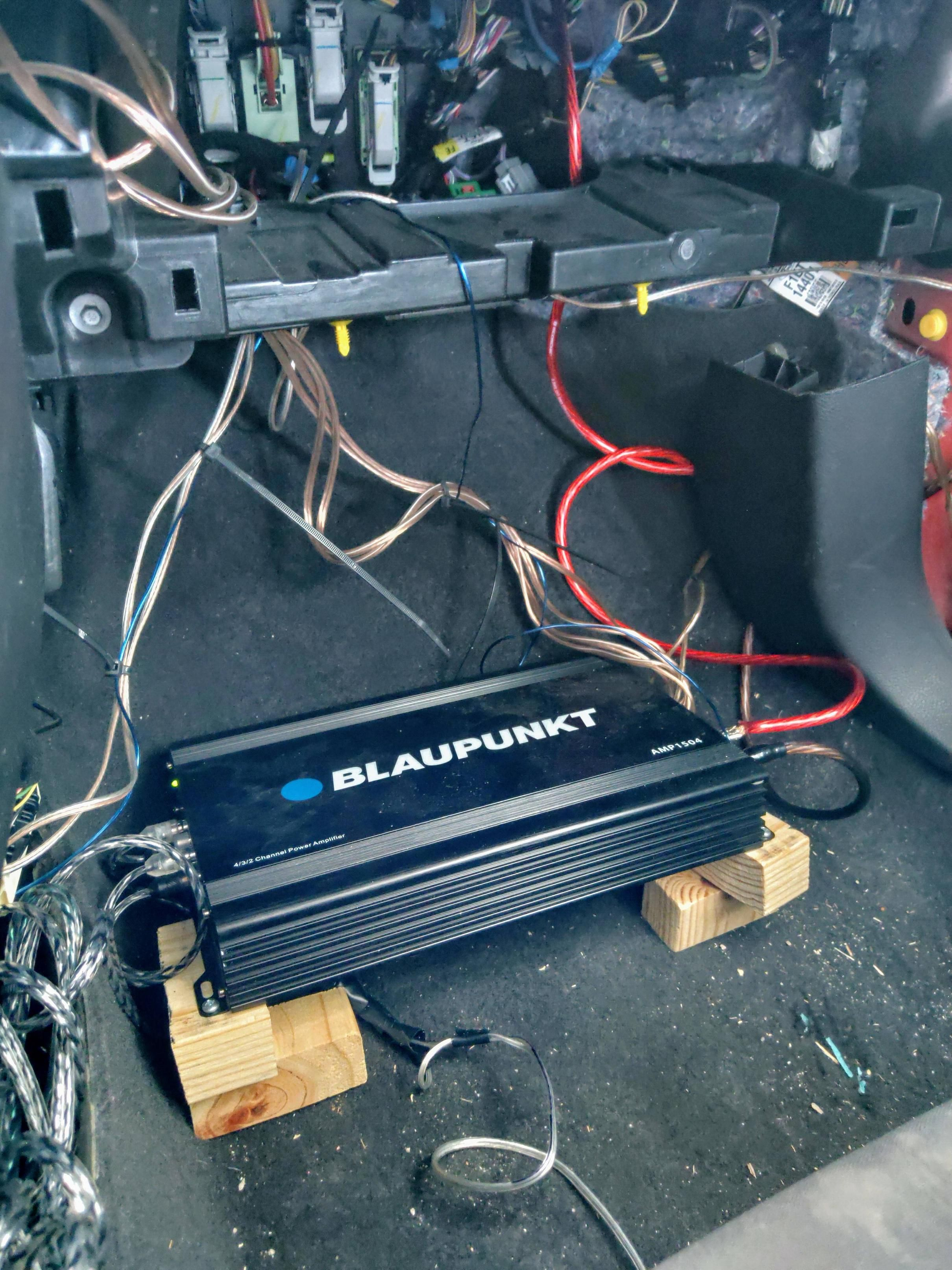 Here S My 4ch Amp Install On The Passenger Side Floor With A Computer Fan Under It It S Pushing 4 Speakers And A Amp Install Car Stereo Systems Computer Fan