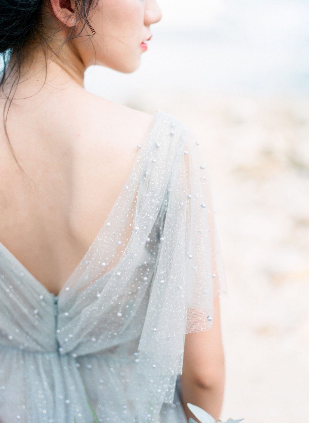 Ocean Blues Inspired This Ethereal Bridal Shoot on a Hong Kong Cliffside - Once Wed