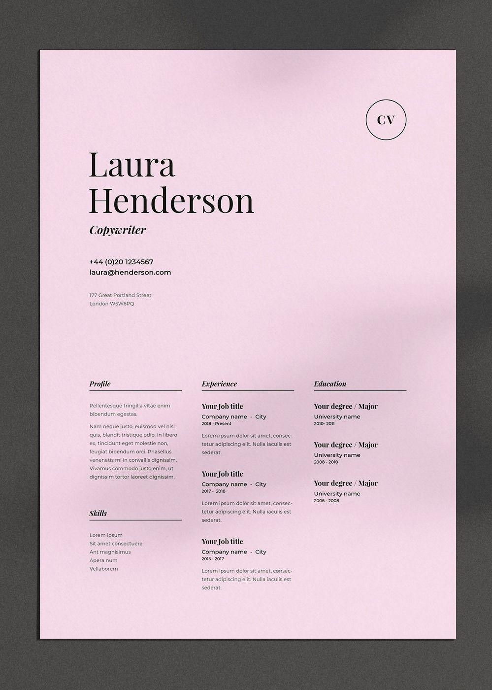 Laura Cv Resume Template Graphic Design Cv Resume Design Resume Design Creative