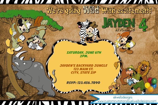 Disney Jungle safari Birthday Invitation Mickey and Friends