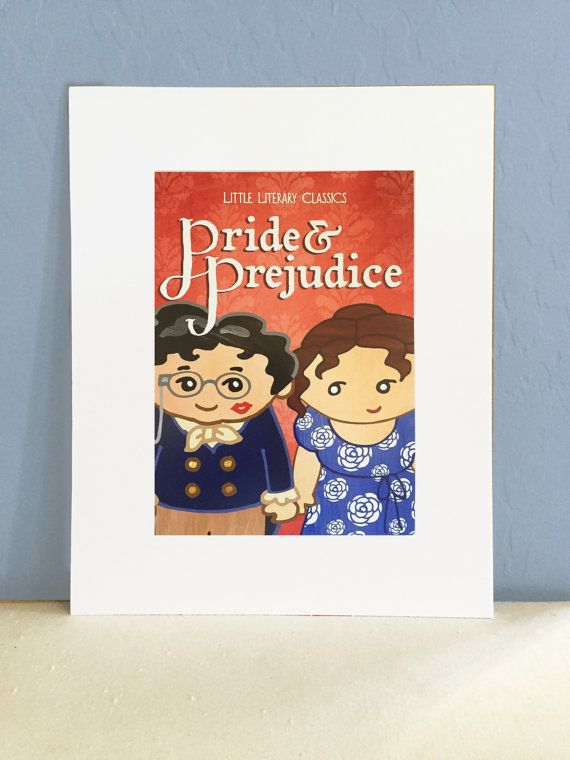 Pride and Prejudice cover art Mr. Darcy Lizzy Illustration photo print Little Literary Classics unframed
