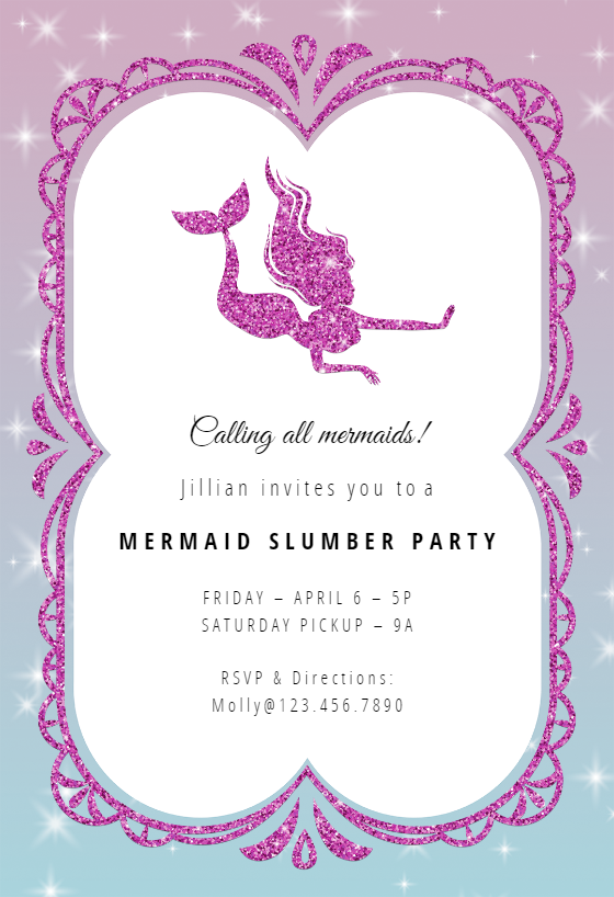 Mermaid Sparkle Sleepover Party Invitation Template Free Greetings Island Slumber Party Invitations Party Invite Template Sleepover Invitations