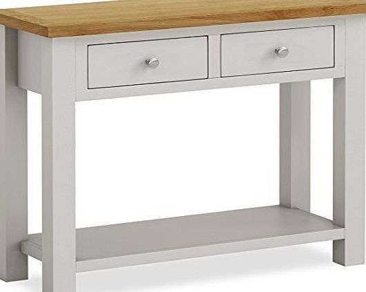Roseland Furniture Farrow Painted Console Table / Hall Table / Painted Stone  Grey With Oak Top