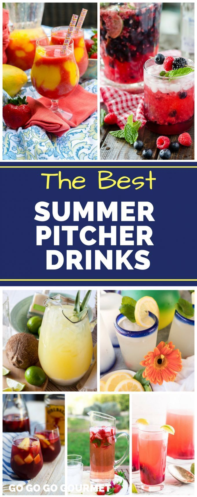 Whether alcoholic or non-alcoholic, these Summer Pitcher Drinks are a great way to serve cocktails for a crowd! Your summer party won't be complete without at least one of these easy recipes! #summerpitcherdrinks #cocktailsforacrowd #easysummercocktails #gogogogourmet #nonalcoholicsummerdrinks