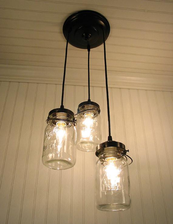 Mason Jar 3 Light Chandelier Trio Of Vintage Quart Jars Jar