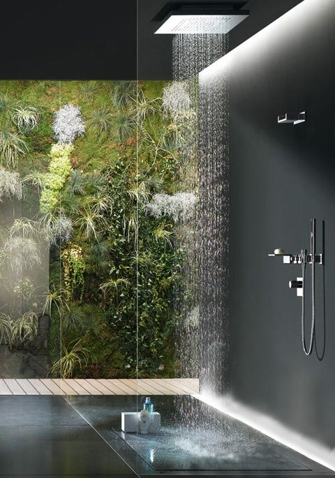 tropical rain shower head. A living wall filled with foliage  moss and fern fronds provides a natural focal point in this modern bathroom rainshower fixture is lighted dramatically http walkinshowers org 6 incredible rainfall shower head examples