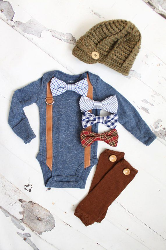 Photo of Newborn Baby Boy Coming Home Outfit Set up to 3 Items. Suspender Bow Tie Bodysuit, Leg Warmers & Knit Newsboy Hat. Easter Valentines Slate