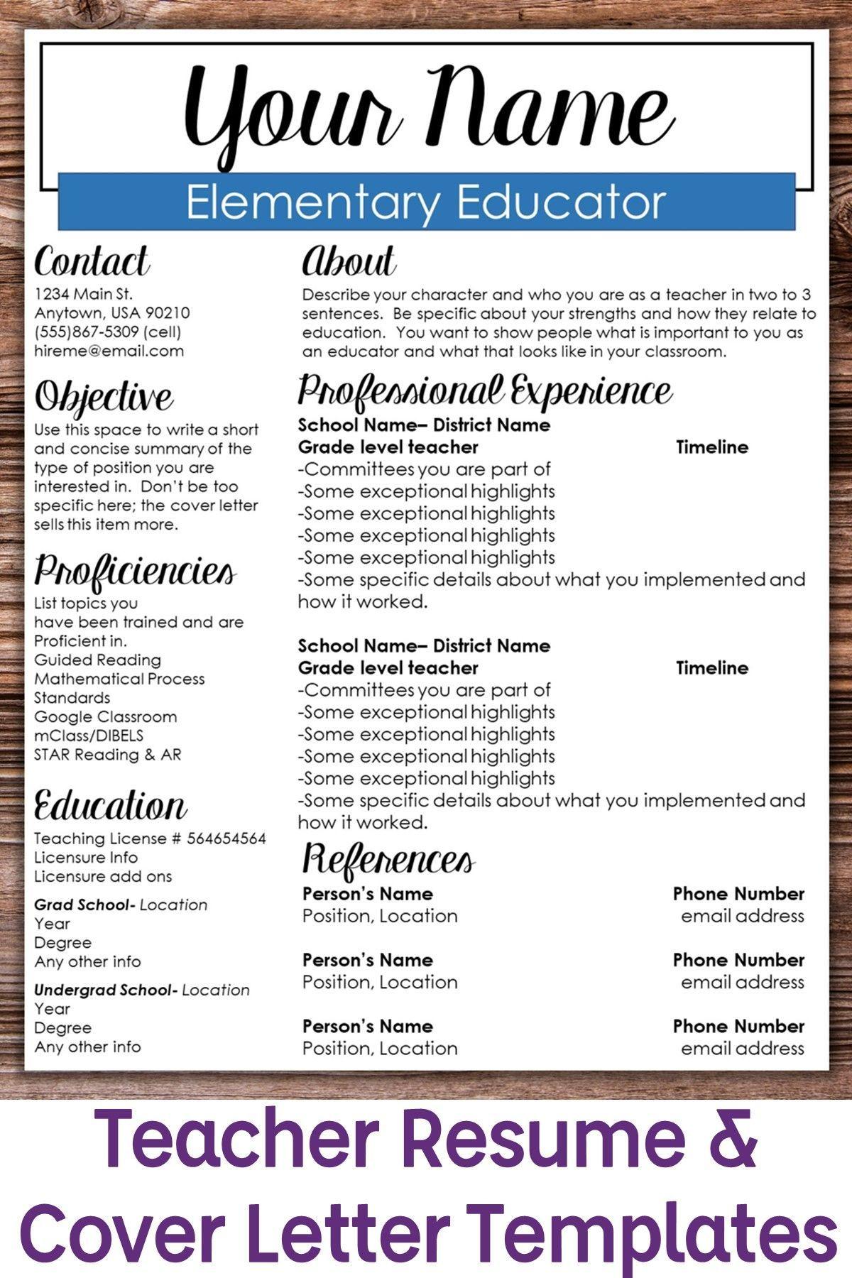 Editable Teacher Resume Template- Boxed | Teacher resume ...