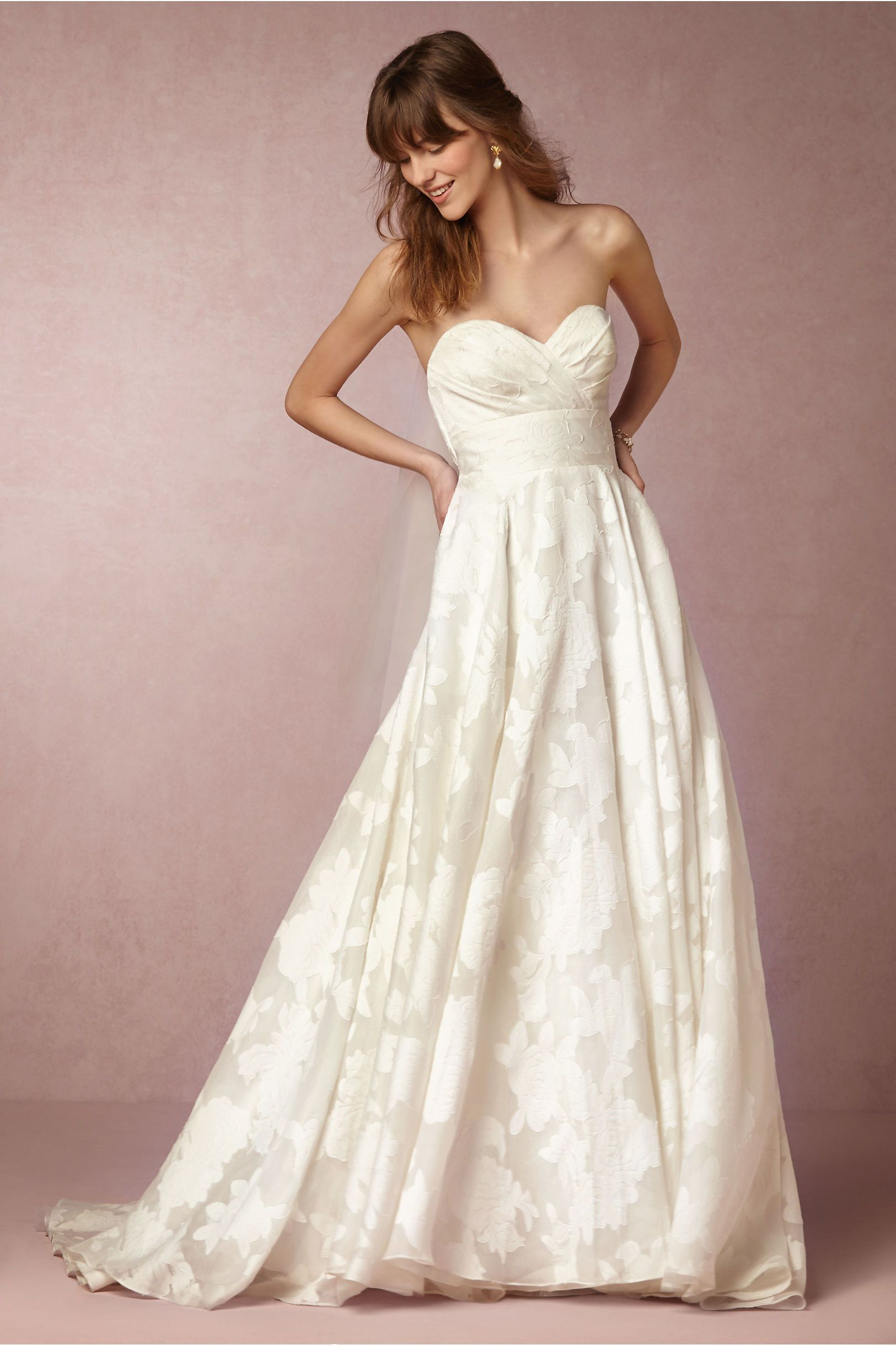 Pink lace wedding dress  BHLDN Judith Gown in Bride Wedding Dresses at BHLDN  Gorgeous Gowns