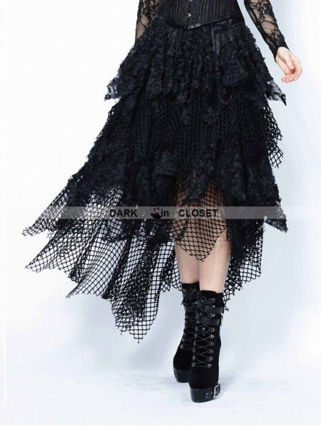 14de0c2d75 Dark in Love Black Gothic Punk Messy Mesh and Lace Skirt | Gothic ...