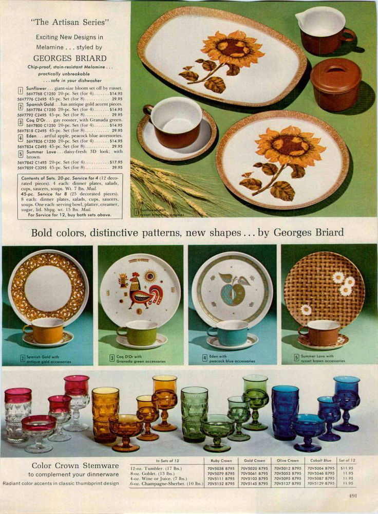 1967 Georges Briard Melimine Melmac Dinnerware Plates Mid