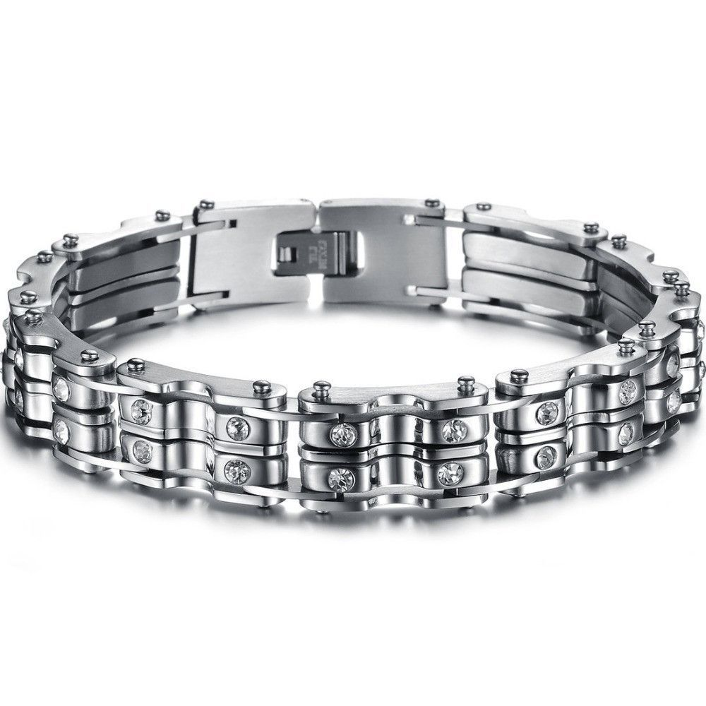 Fashion stainless steel bracelet mens jewelry bike chains with clear