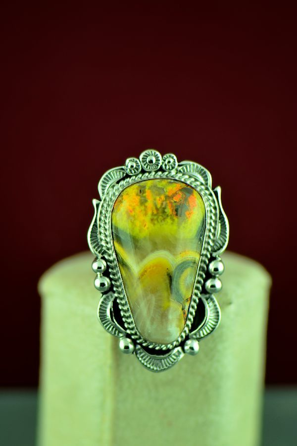 5e0595469 Navajo – Sterling Silver Bumble Bee Jasper Ring by Will Denetdale Size 6