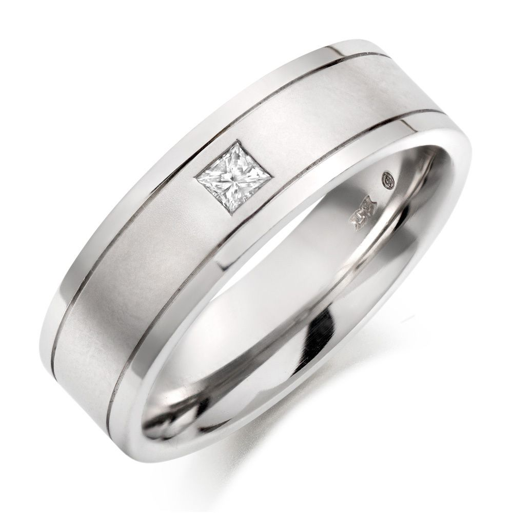 platinum wedding band Mens Platinum Diamond Wedding Rings