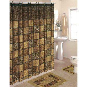 Leopard 15 Piece Bathroom Set 2 Rugs Mats 1 Fabric Shower