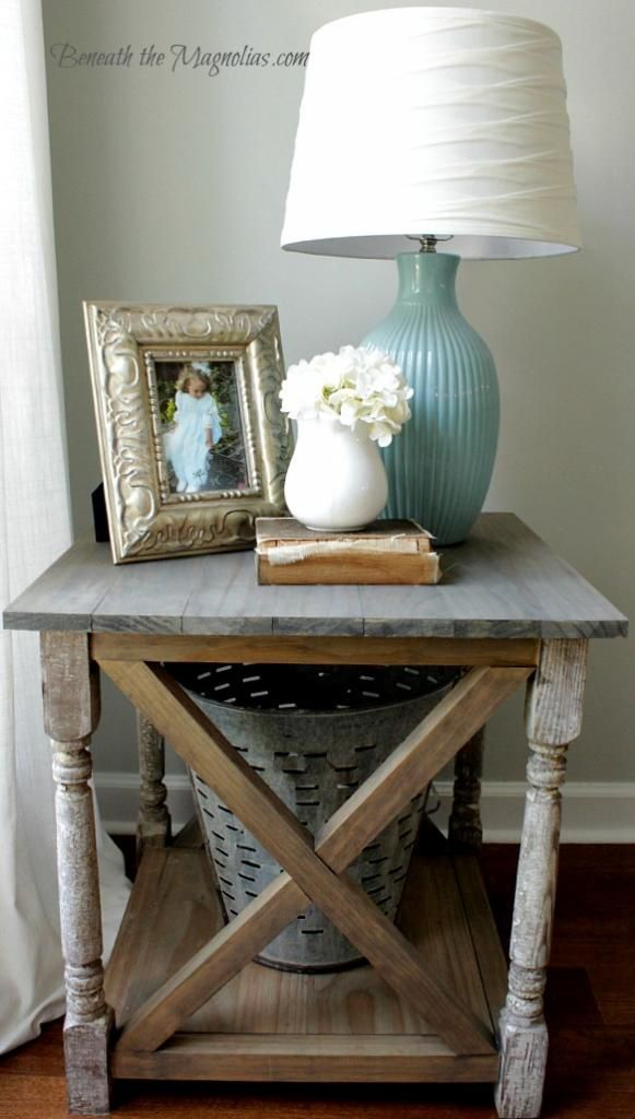 Ana White Rustic X End Table Beneath The Magnolias Table Decor