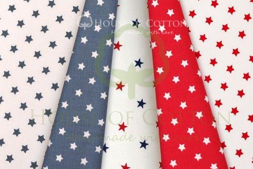 Red & navy stars cotton set / Zestaw gwiazdki czerwono-granatowe