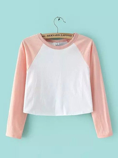 Short Casual Crop Top High Waist Collision Color Stitching Cotton T-shirt with Long Raglan Sleeves