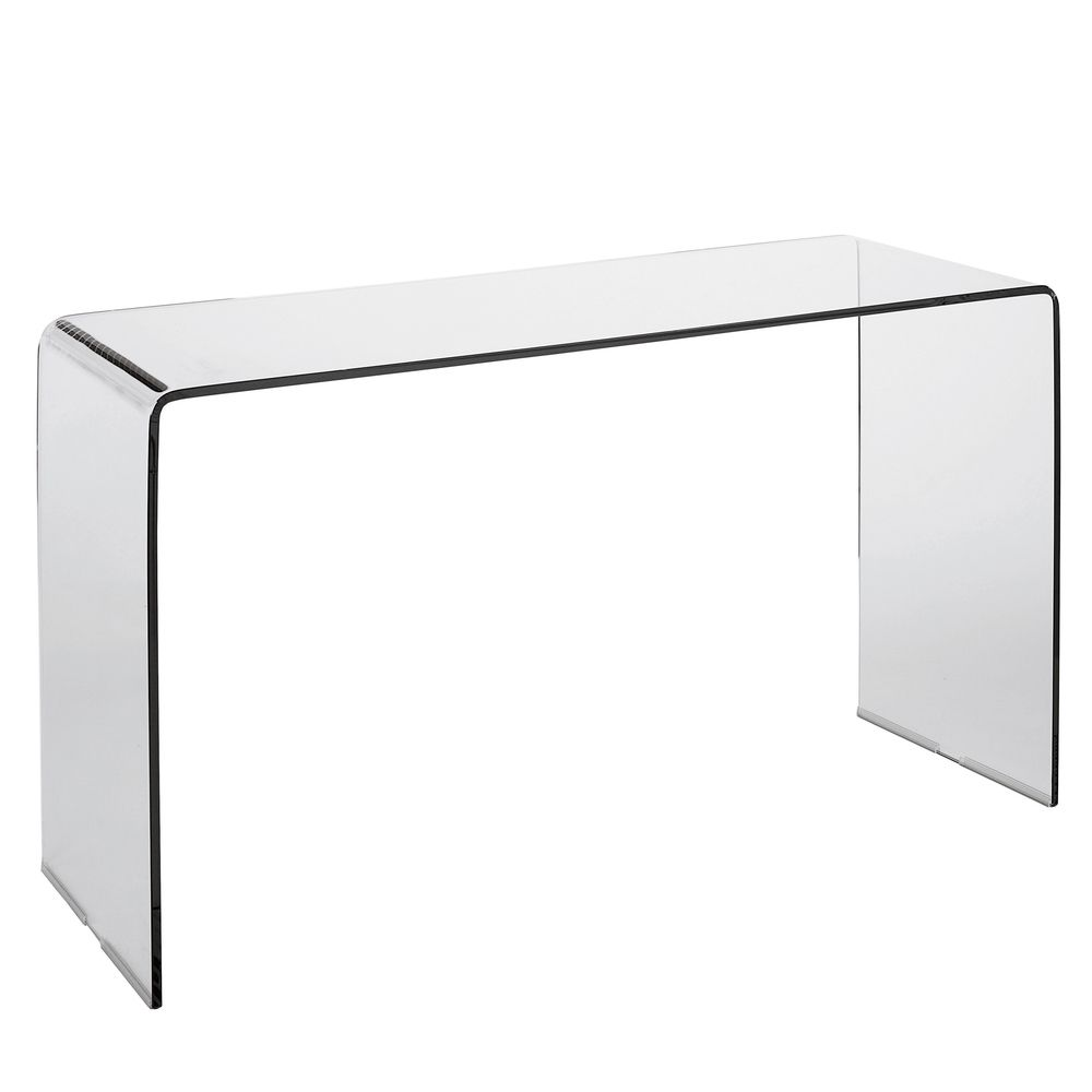 Made Of A Single Piece Of Bent Glass, This Stunning Table Looks Great As A  Console Or Even A Compact Desk. The Transparent Nature Of The Glass Means  It Does ...