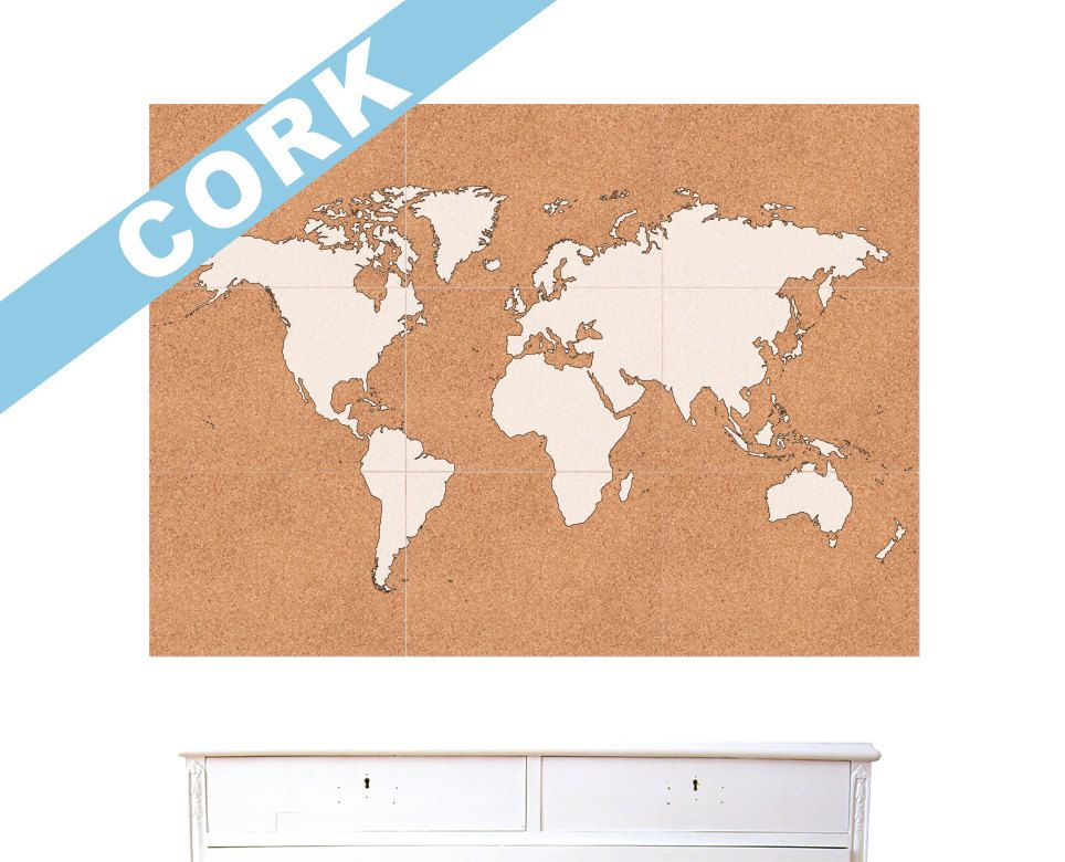 World map canvas large push pin travel map of the world 240 pins cork board and paint world map gumiabroncs Images