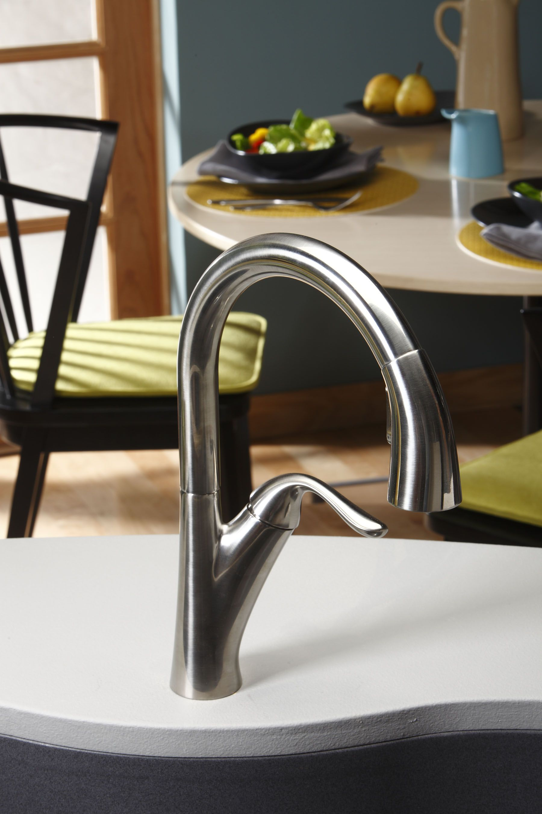 Harmony Single Hole Kitchen Faucet With Pull Down Spray And Forward Only Lever Handle With Images Single Hole Kitchen Faucet Elkay Kitchen Faucet