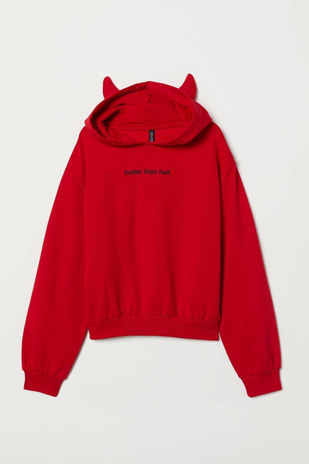 Rot. Kurzes bedrucktes Sweatshirt mit jerseygefütterter Kordelzugkapuze, übers…