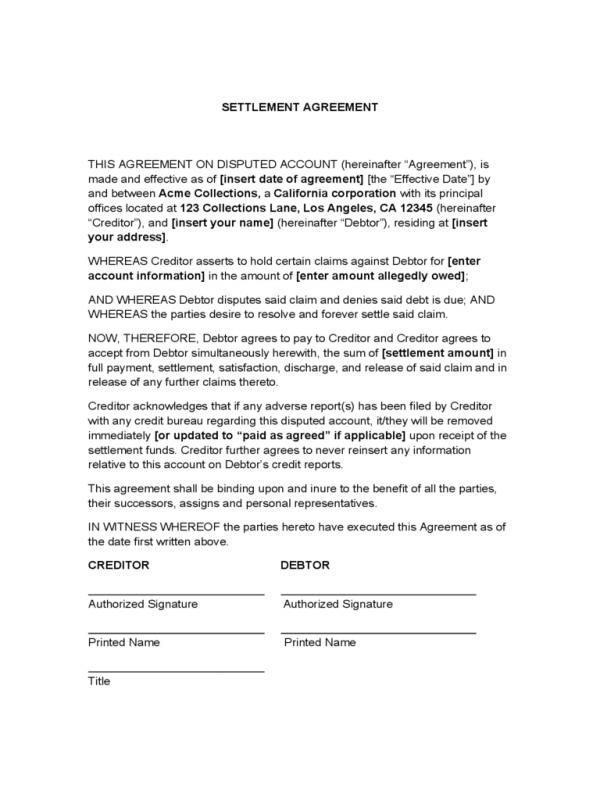 Settlement Agreement Sample Template Pinterest Divorce