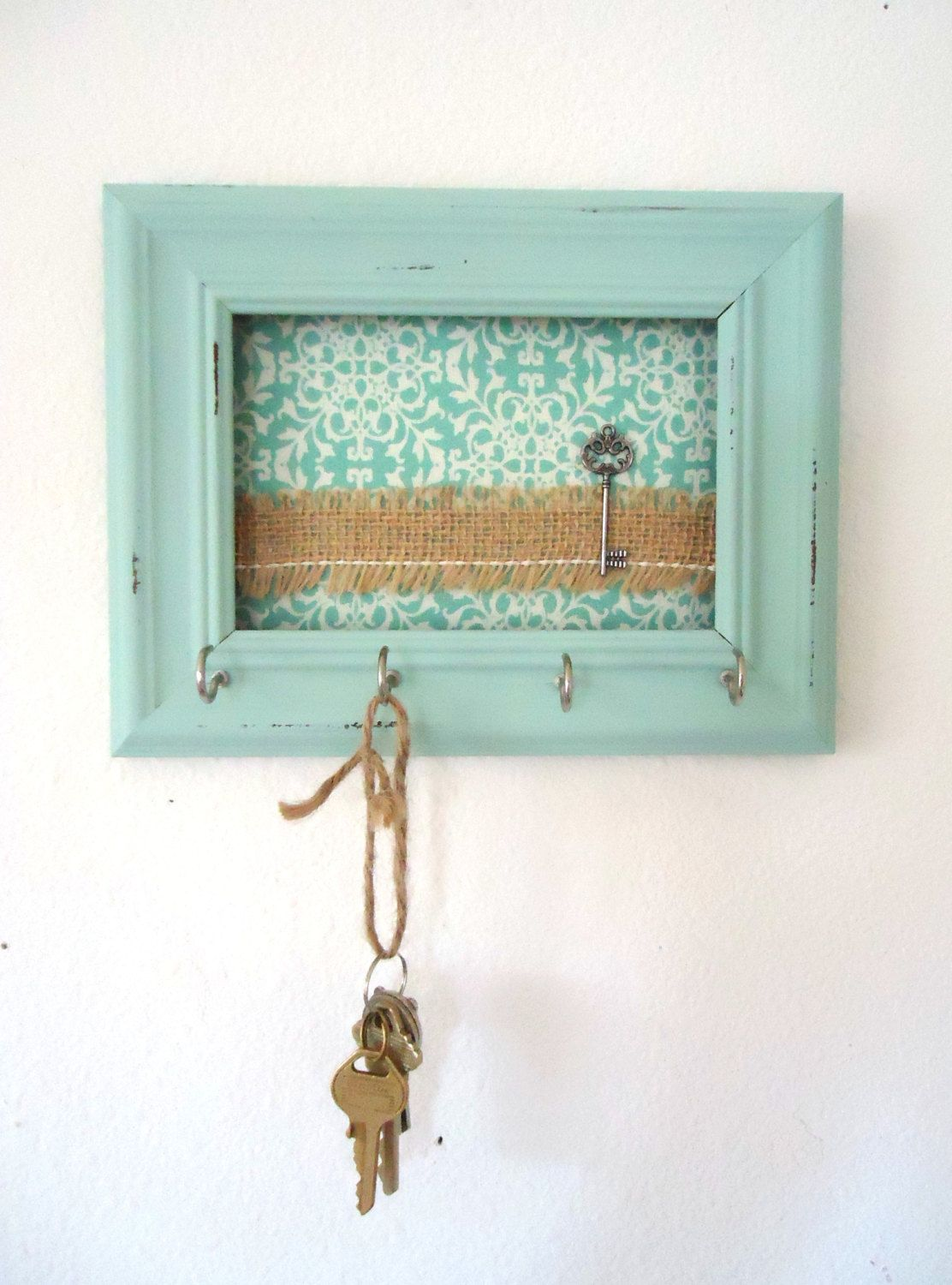 key holder wall hook shabby chic frame home decor organization tiffany blue 5 silver hooks. Black Bedroom Furniture Sets. Home Design Ideas