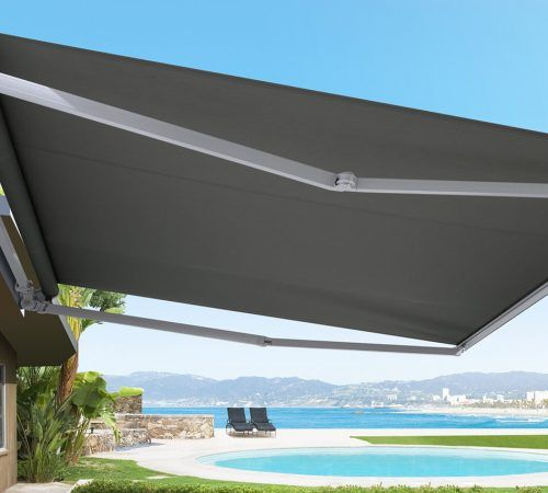 FOLDING ARM AWNINGS :  Increase the space in your living space! Folding Arm Awnings have a clever and compact wall-mounted design, allowing you and your guests to mingle freely without unnecessary posts or ropes. With a variety of durably versatile Folding Arm Awnings, you can find the right solution for providing shelter from the sun without taking up floor space.