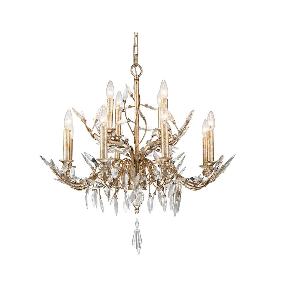 Photo of Antique Silver Crystal Bud 12 Light Dining Chandelier Lucas McKearn (Silver and Gold)