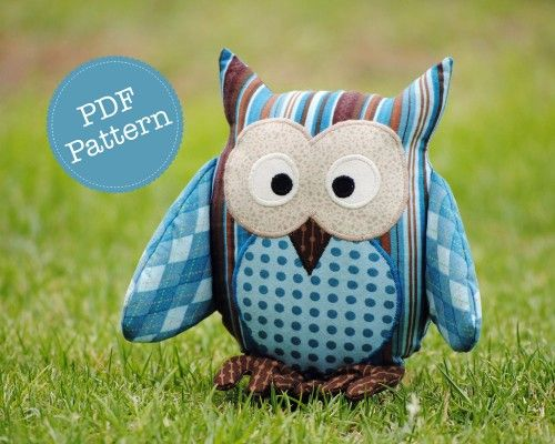 Owl Pattern Soft Toy Plushie Cushion Nursery Decor Pdf Sewing