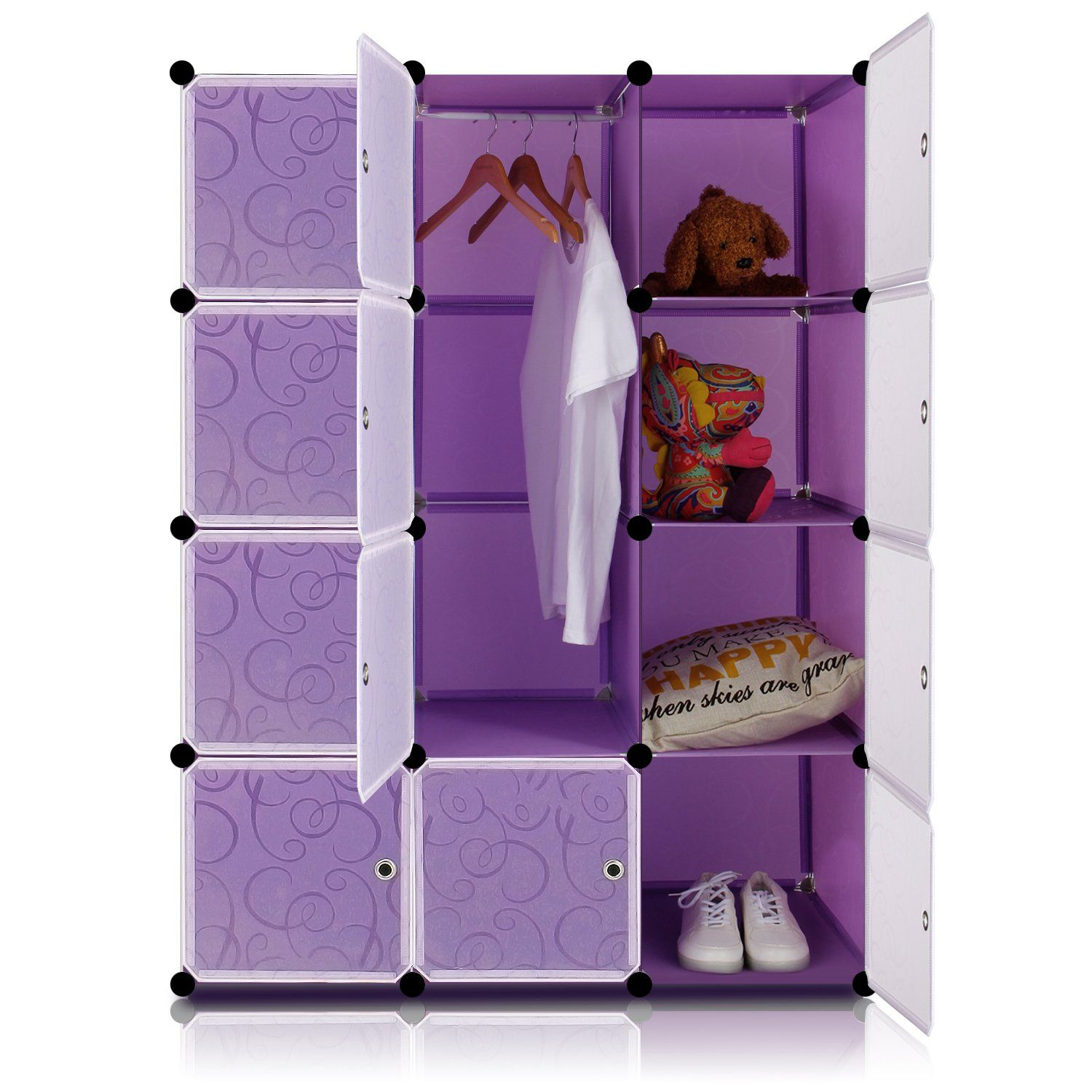 Lifewit 4 Tier Clothes Closet Diy Portable Wardrobe Freestanding Large E Storage Organizer Purple With White Doors