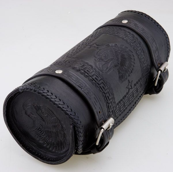"10/"" Motorcycle Black REAL PREMIUM LEATHER Round Tool Bag  For Harley Davidson"