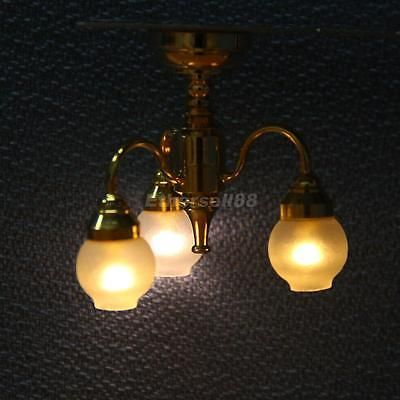 1 12 Dollhouse Golden Led Chandelier 3 Arm Lamp Ceiling Light 12v W Battery Batterieleuchten Led Kronleuchter Beleuchtung Decke