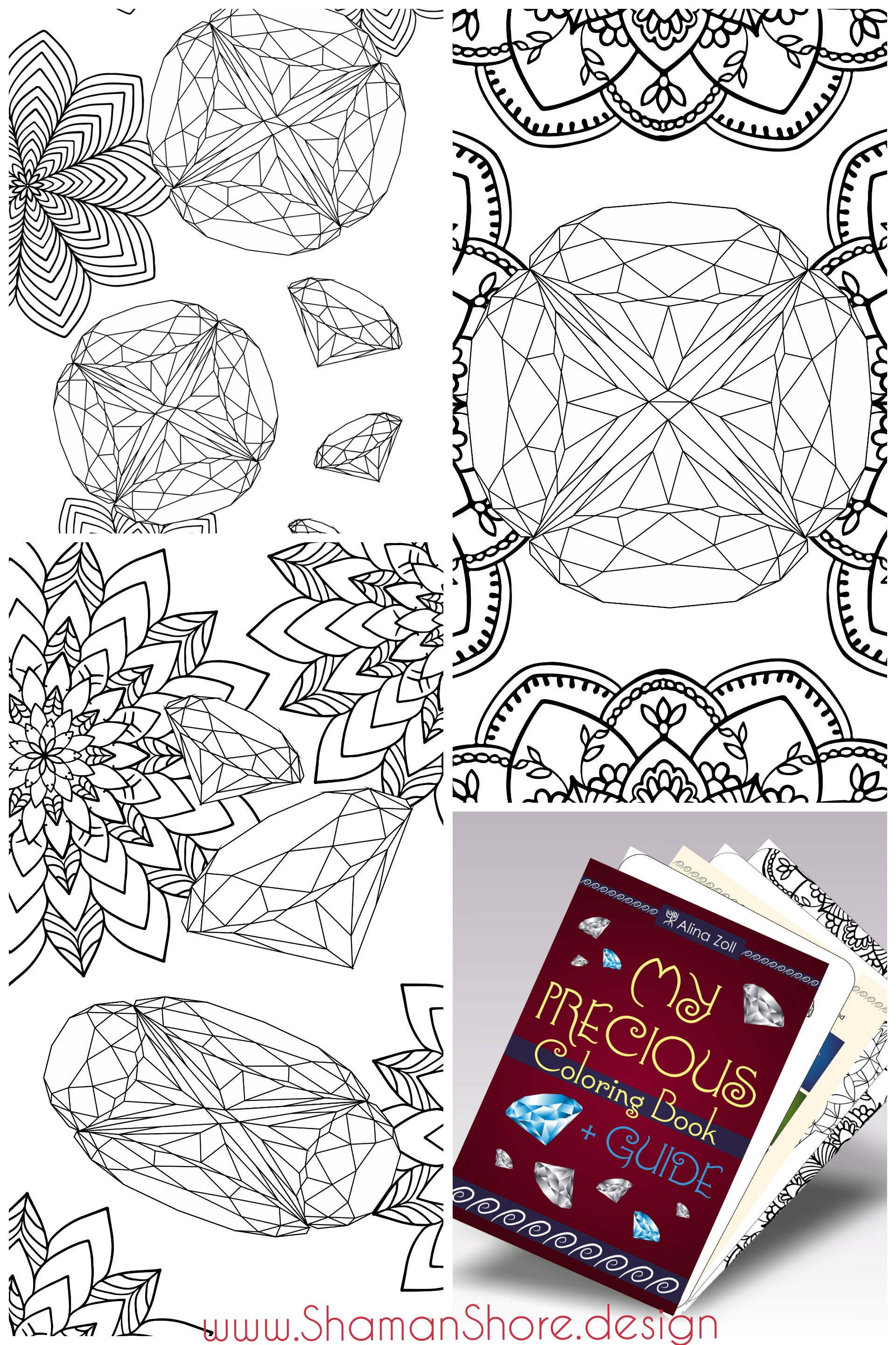 Gemstone Adult Coloring Book Download Pages With Guide And Examples Diamond Drawing Tutorial Printable Digital