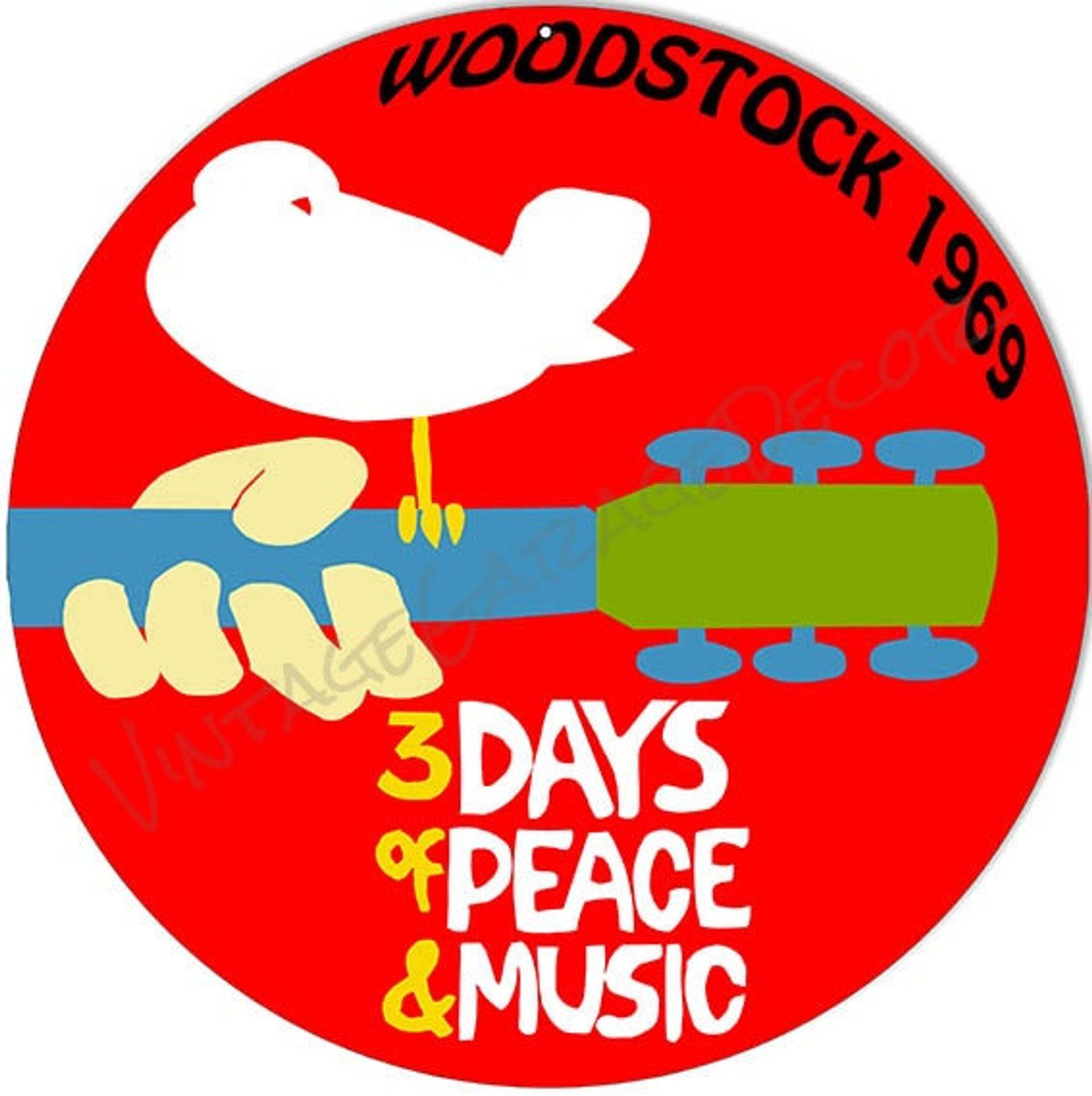 Vintage Style Woodstock 1969 3 Days Of Peace And Music